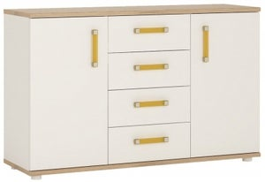 4Kids Sideboard with Orange Handles - Light Oak and White High Gloss