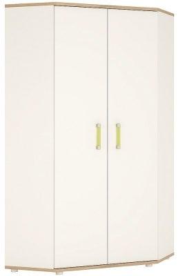 4Kids Corner Wardrobe with Lemon Handles - Light Oak and White High Gloss