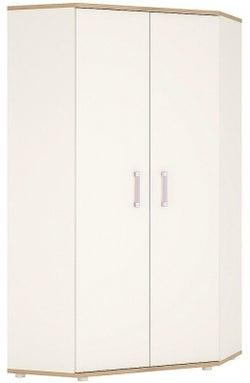 4Kids Corner Wardrobe with Lilac Handles - Light Oak and White High Gloss