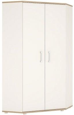 4Kids Corner Wardrobe with Opalino Handles - Light Oak and White High Gloss