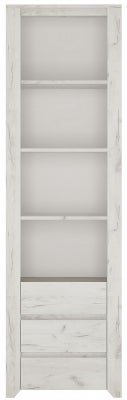 Angel Tall Bookcase - White Crafted Oak Melamine