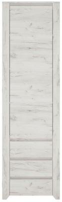 Angel Tall Narrow Cupboard - White Crafted Oak Melamine
