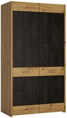 Aviles 2 Door Wardrobe - Artisan Oak and Dark Accents