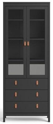Barcelona Matt Black 2 Glass Door Display Cabinet