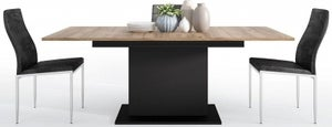 Brolo Extending Dining Table and 4 Milan Black Chairs - Walnut and Dark