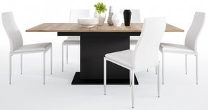 Brolo Extending Dining Table and 4 Milan White Chairs - Walnut and Dark