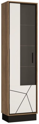 Brolo Glazed Left Hand Facing Display Cabinet - Dark Walnut and High Gloss White