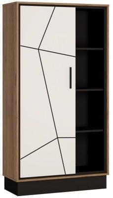 Brolo Wide Bookcase - Dark Walnut and High Gloss White