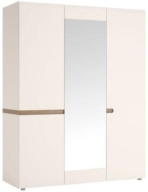 Chelsea 3 Door with Mirror Wardrobe - Truffle Oak and High Gloss White