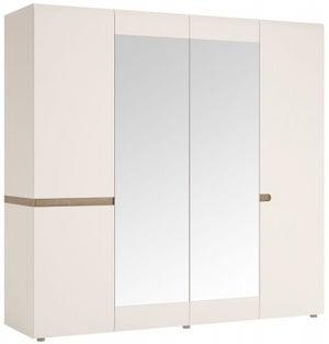 Chelsea 4 Door with Mirror Wardrobe - Truffle Oak and High Gloss White