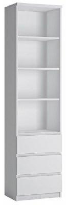 Fribo White Tall Narrow Bookcase