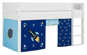 Huxie Mid Sleeper with Safety Rail in White and Blue Rocket Play Curtains