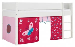 Huxie Mid Sleeper with Safety Rail in White and Red Butterfly Play Curtain