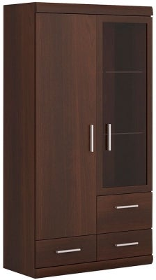 Imperial Glazed Display Cabinet - Dark Mahogany Melamine