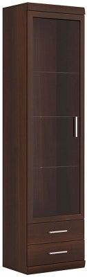 Imperial Tall Narrow Glazed Cabinet - Dark Mahogany Melamine