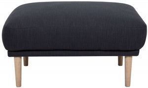 Larvik Antracit Fabric Footstool with Oak Legs
