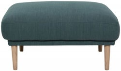 Larvik Dark Green Fabric Footstool with Oak Legs