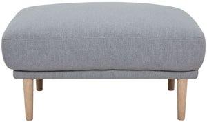 Larvik Grey Fabric Footstool with Oak Legs