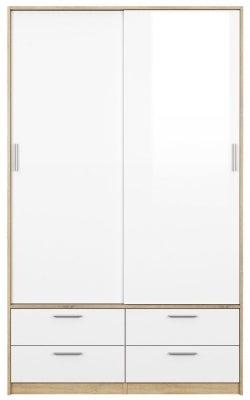 Line 2 Door Tall Combi Wardrobe - Oak and White High Gloss