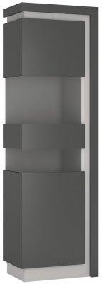 Lyon Tall Narrow Left Hand Facing Display Cabinet - Platinum and Light Grey Gloss