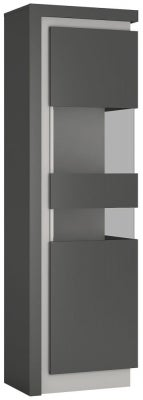 Lyon Tall Narrow Right Hand Facing Display Cabinet - Platinum and Light Grey Gloss