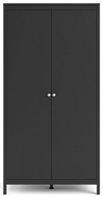 Madrid Matt Black 2 Door Wardrobe