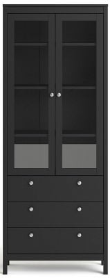 Madrid Matt Black 2 Glass Door Display Cabinet