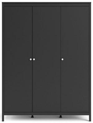 Madrid Matt Black 3 Door Wardrobe