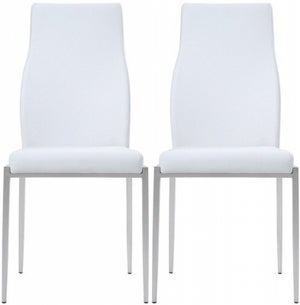 Milan White Faux Leather Dining Chair (Pair)