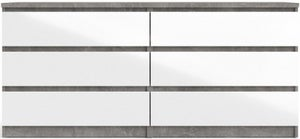 Naia Concrete and White High Gloss 6 Drawer Chest