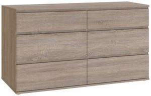 Nova Truffle Oak 6 Drawer Wide Chest