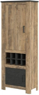 Rapallo Chestnut and Matera Grey 2 Door Cabinet with Wine Rack