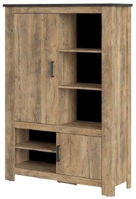Rapallo Chestnut and Matera Grey 2 Door Cabinet