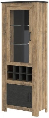 Rapallo Chestnut and Matera Grey 2 Door Display Cabinet with Wine Rack