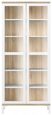Roomers White and Oak Glazed Display Cabinet
