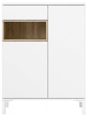 Roomers White and Oak 2 Door Sideboard