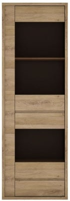 Shetland Oak Glazed Narrow Display Cabinet