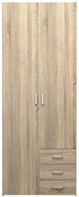 Space Oak 2 Door 3 Drawer Wardrobe