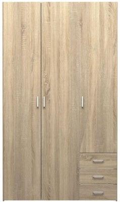 Space Oak 3 Door 3 Drawer Wardrobe