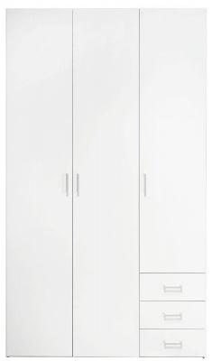 Space White 3 Door 3 Drawer Large Wardrobe