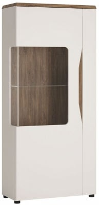 Toledo Left Hand Facing Display Cabinet - Oak and High Gloss White