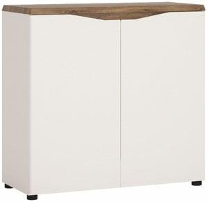 Toledo Narrow Sideboard - Oak and High Gloss White