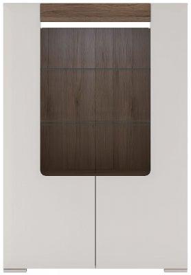 Toronto Glazed Display Cabinet - Sanremo Oak and High Gloss White