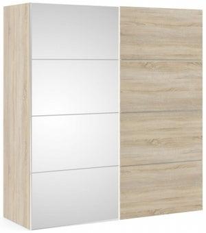 Verona 2 Door Sliding Wardrobe W 180cm - Oak and Mirror