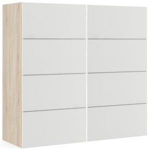 Verona 2 Door Sliding Wardrobe W 180cm - Oak and White