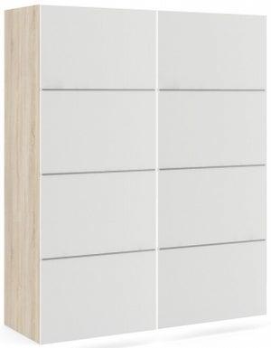 Verona 2 Door 5 Shelves Sliding Wardrobe W 120cm - Oak and White