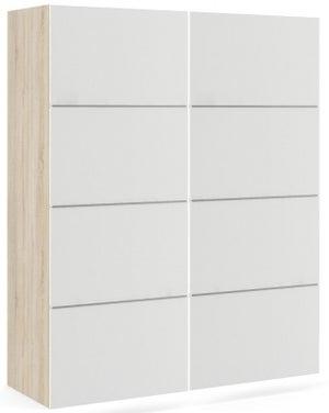 Verona 2 Door Sliding Wardrobe W 120cm - Oak and White