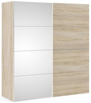 Verona 2 Door 5 Shelves Sliding Wardrobe W 180cm - Oak with Oak and Mirror
