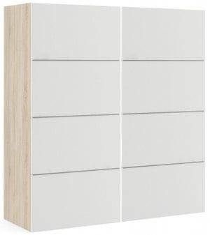 Verona 2 Door 5 Shelves Sliding Wardrobe W 180cm - Oak with White