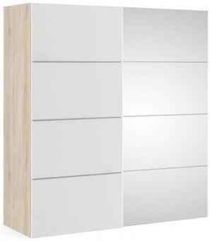 Verona 2 Door 5 Shelves Sliding Wardrobe W 180cm - Oak with White and Mirror